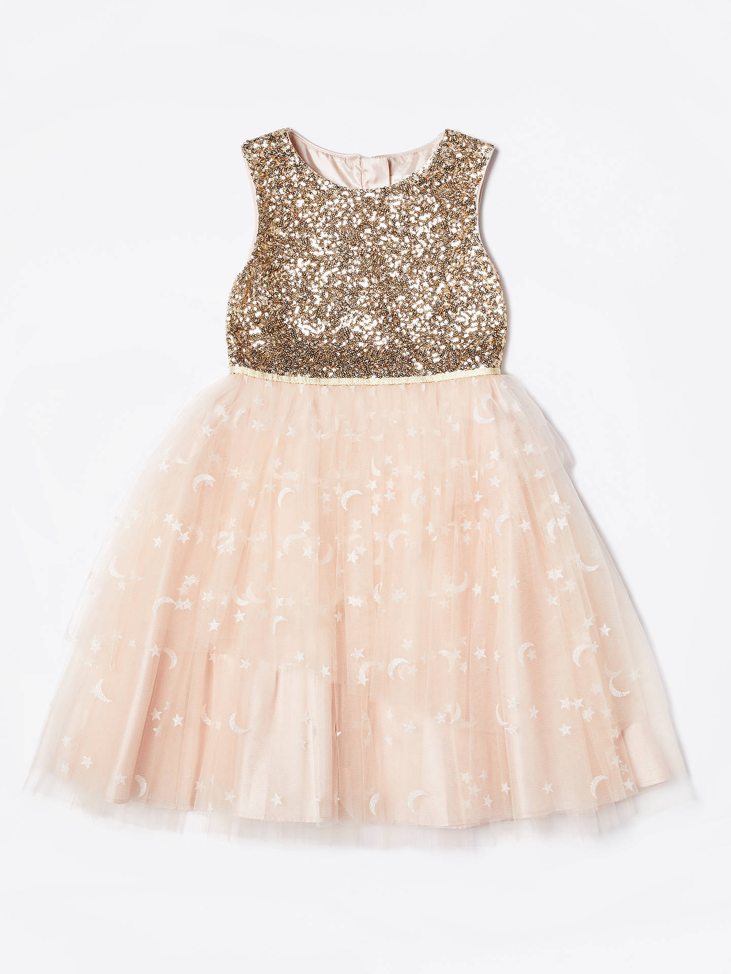 8252c9523c33c John Lewis & Partners Girls' Sequin Mesh Dress, Neutral/Gold at John ...