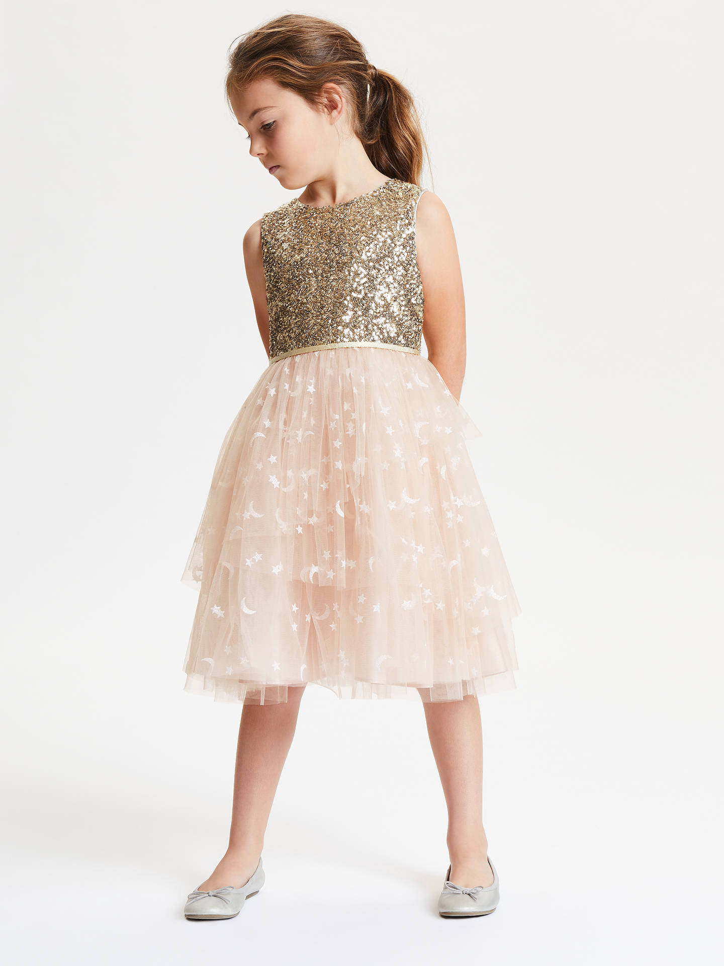BuyJohn Lewis & Partners Girls' Sequin Mesh Dress, Neutral/Gold, 3 years Online at johnlewis.com