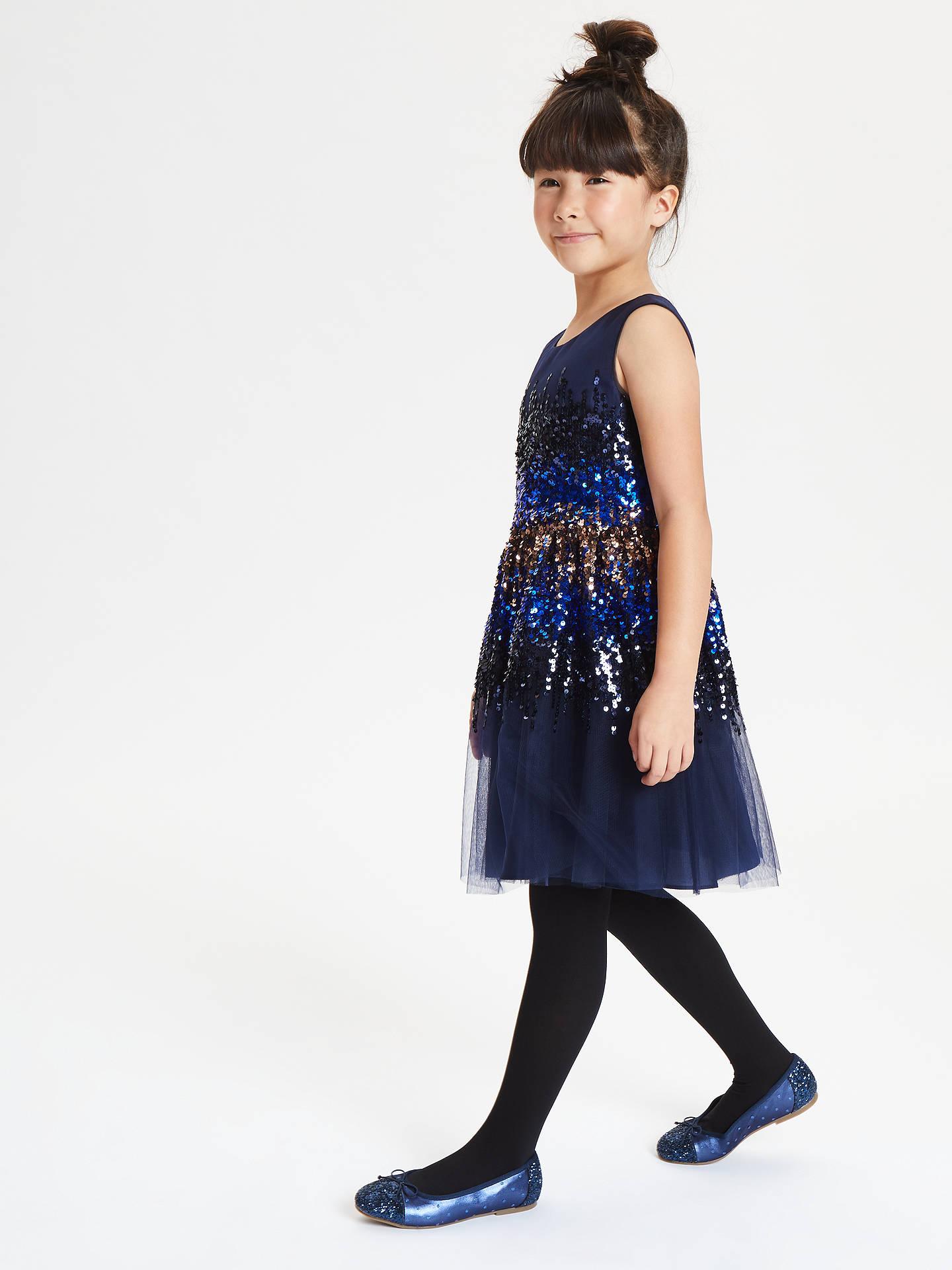 656c66f9 ... Buy John Lewis & Partners Girls' Sequin Panel Dress, Navy, 3 years  Online ...