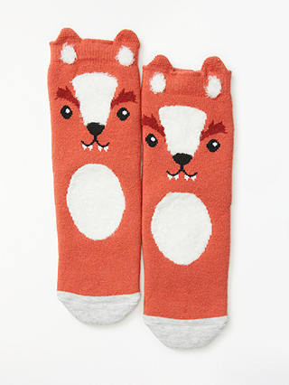 Buy John Lewis & Partners Children's Fox Slipper Socks, Orange, 4-7 Online at johnlewis.com