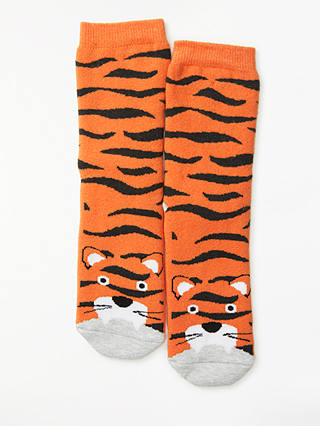 Buy John Lewis & Partners Children's Tiger Slipper Socks, Orange, 6-8.5 Jnr Online at johnlewis.com