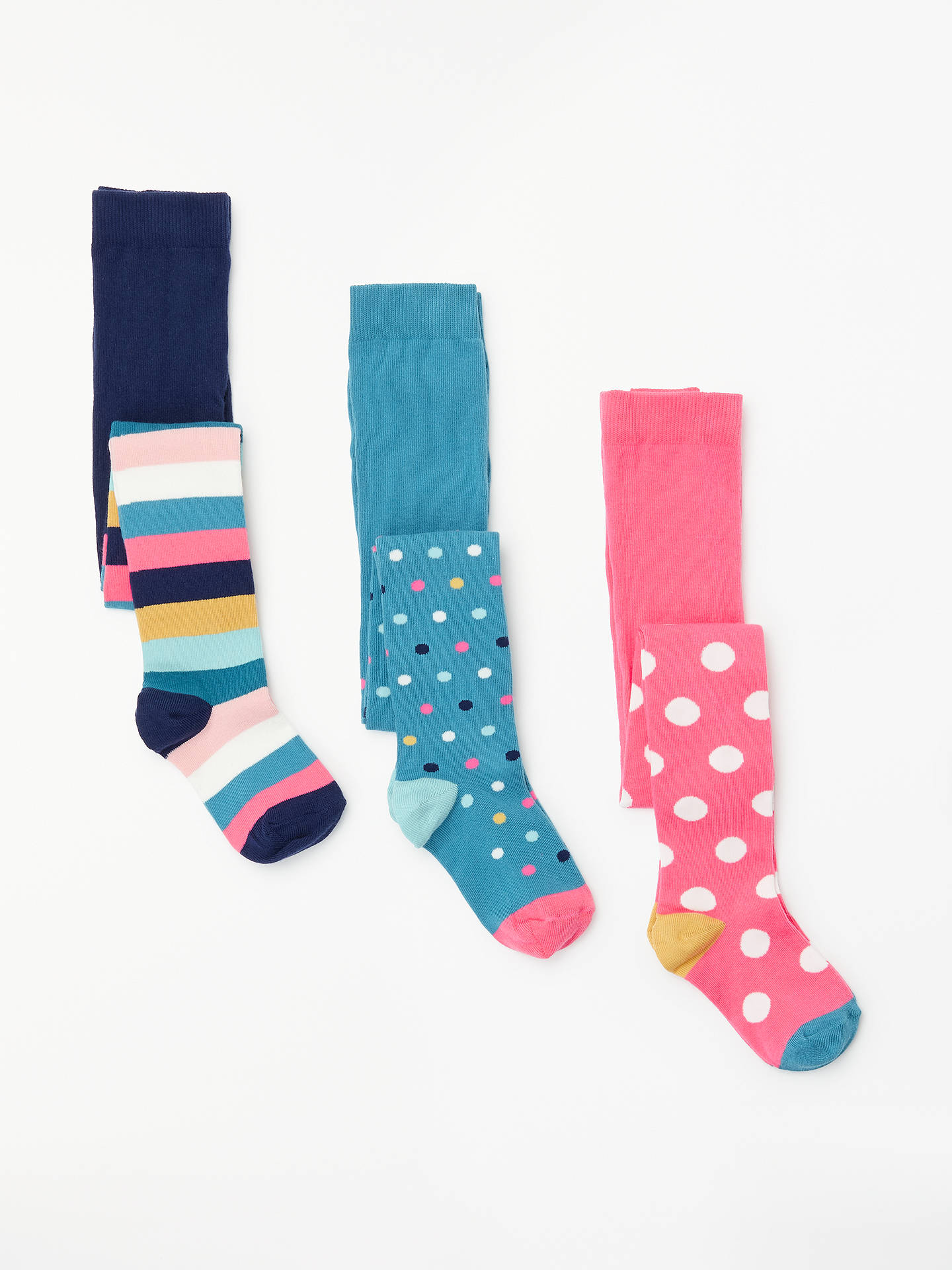 Buy John Lewis & Partners Girls' Bold Spot Stripe Tights, Pack of 3, Multi, 2-3 years Online at johnlewis.com
