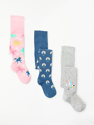 John Lewis & Partners Girls' Unicorn Print Tights, Pack of 3, Multi