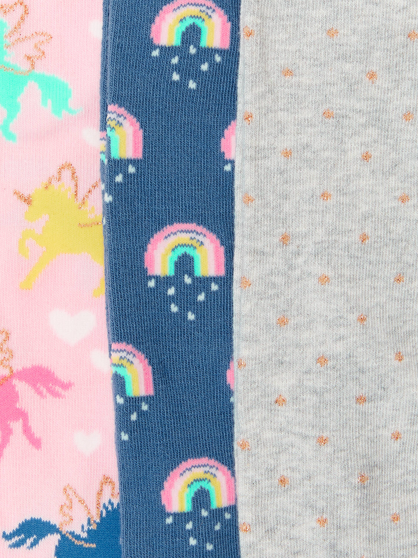 Buy John Lewis & Partners Girls' Unicorn Print Tights, Pack of 3, Multi, 2-3 years Online at johnlewis.com