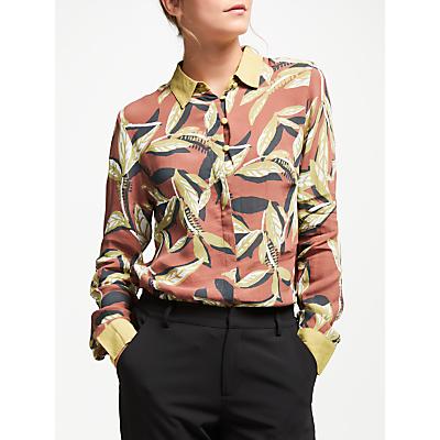 Numph Despina Leaf Print Shirt, Light Mahogany