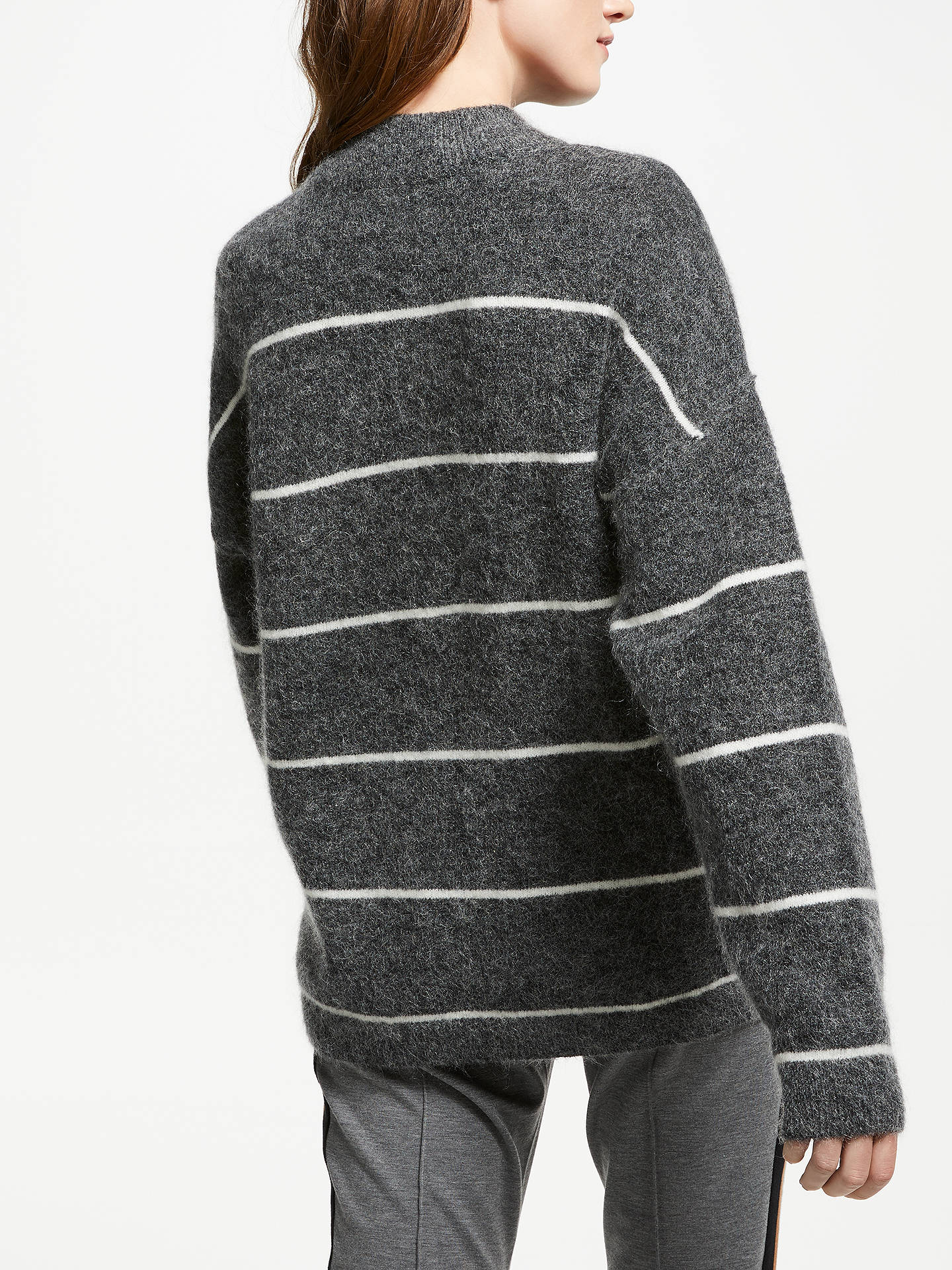 Buy Second Female Stripe Knit Jumper, Dark Grey Melange, S Online at johnlewis.com