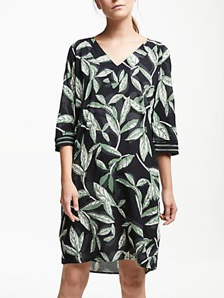 Numph Felicia Leaf Print Dress, Caviar