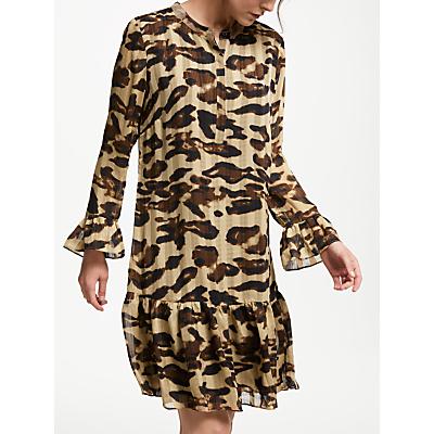 Numph Frostine Leopard Print Dropped Waist Dress, Warm Sand