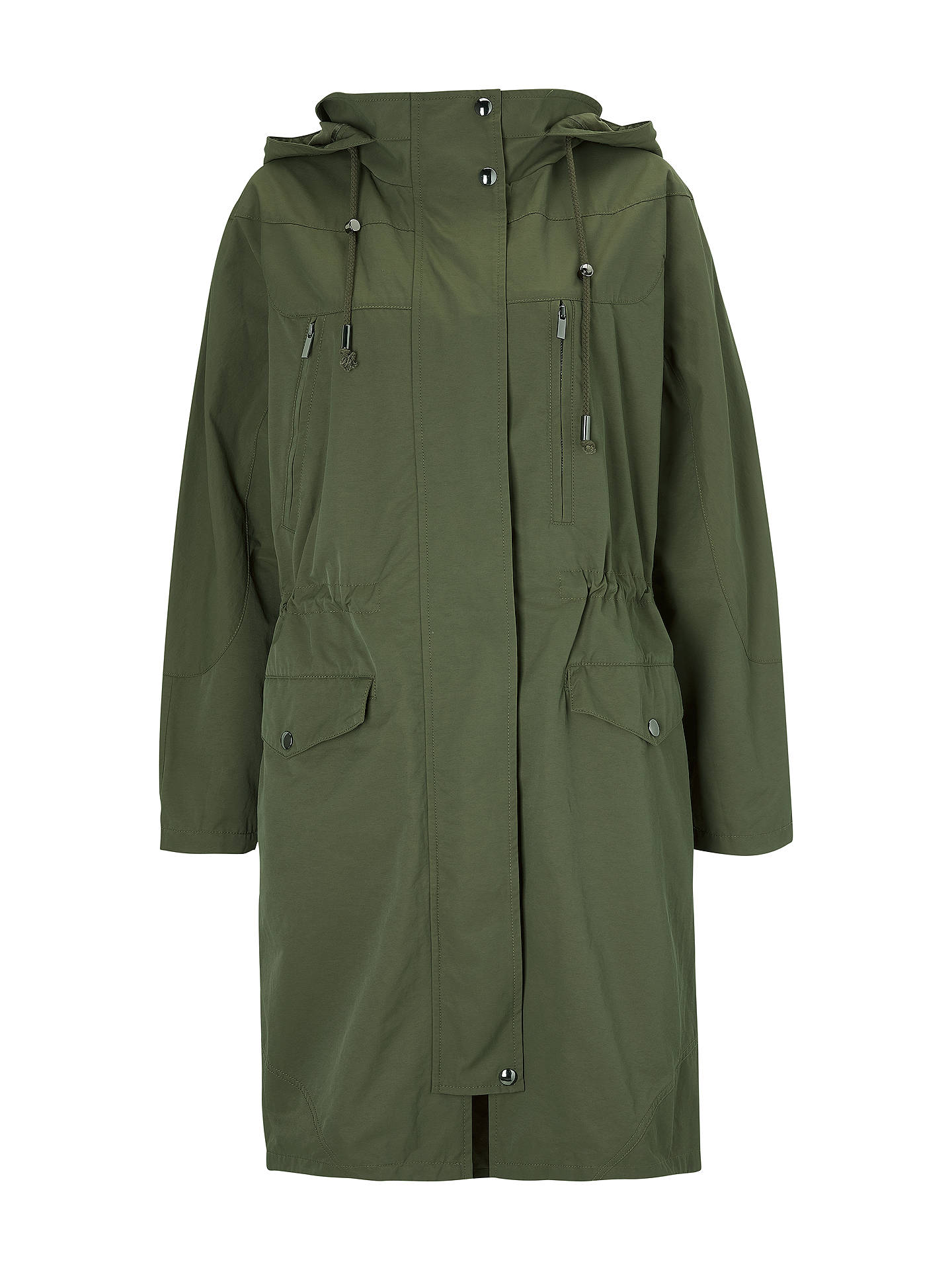 BuyGreat Plains High Neck Long Parka Coat, Green Smoke, XS Online at johnlewis.com