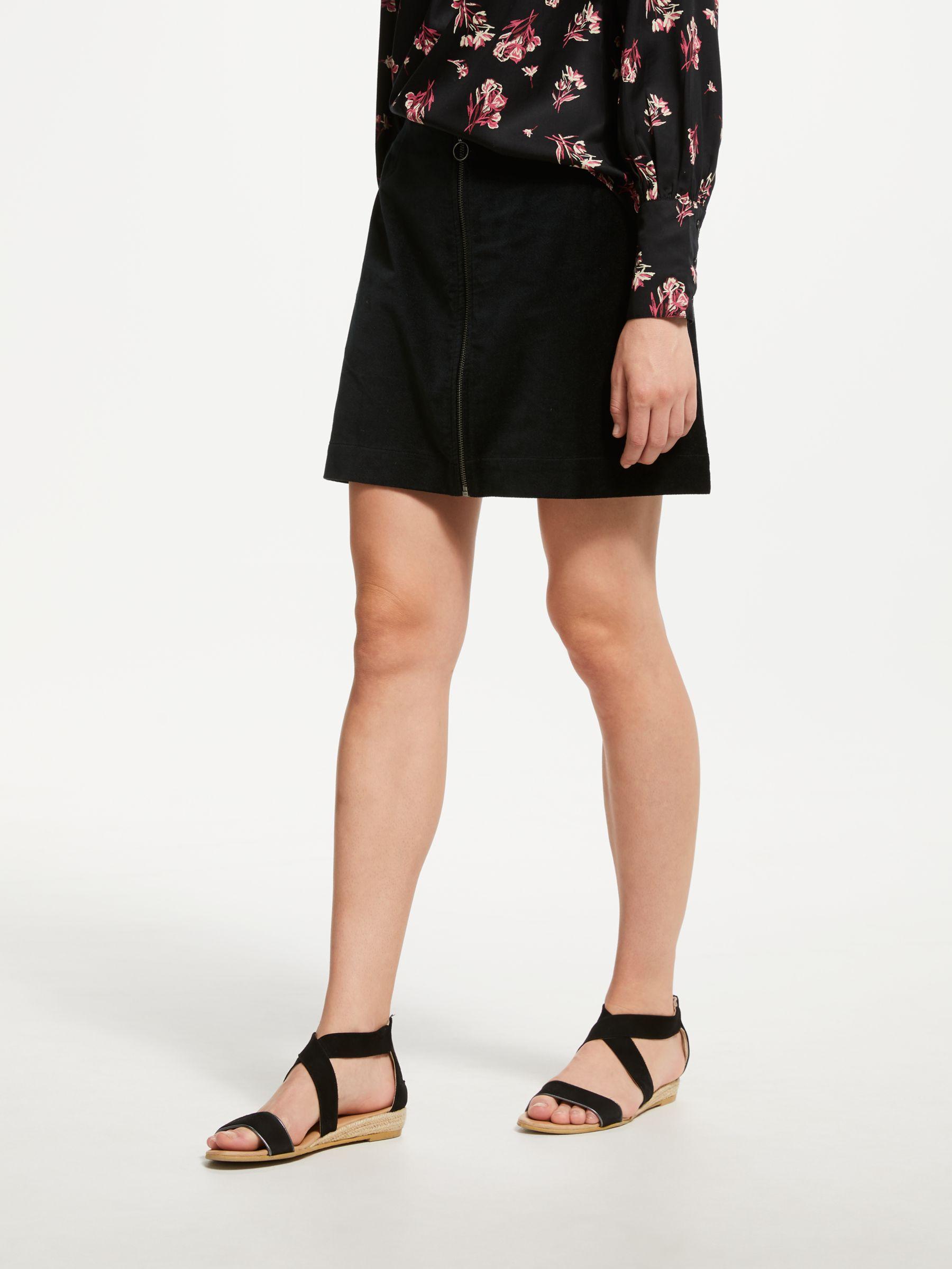 157d720da9b People Tree Halima Velvet Mini Skirt, Black at John Lewis & Partners