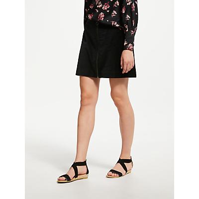 People Tree Halima Velvet Mini Skirt, Black