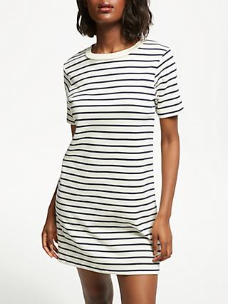 Great Plains Lace-Up Stripe Dress, Midnight/Milk