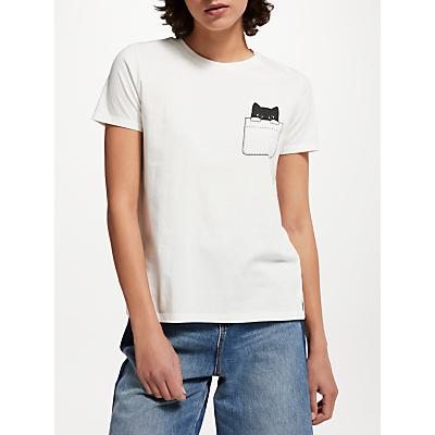 People Tree Peeking Cat T-Shirt, Eco White