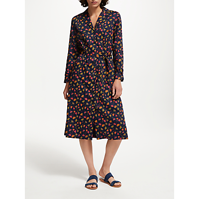 People Tree V&A Poppy Print Dress, Navy/Multi