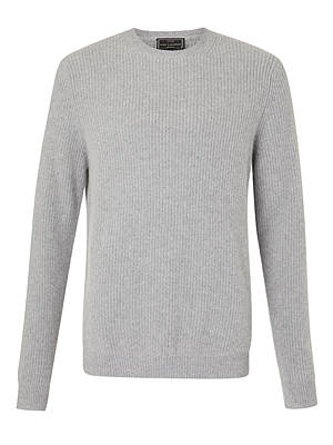 BuyJohn Lewis & Partners Premium Cashmere Textured Jumper, Light Grey, S Online at johnlewis.com