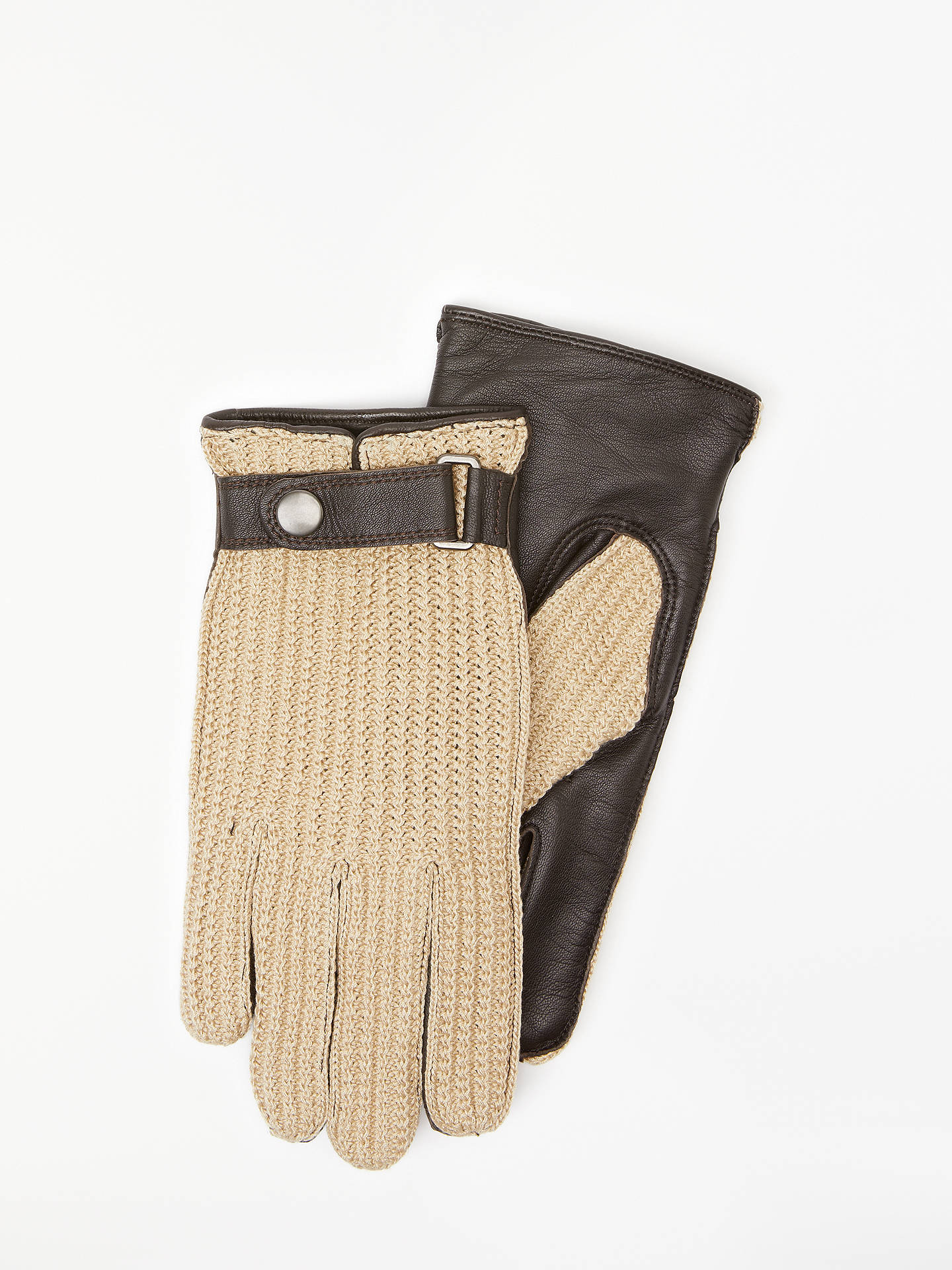 BuyJohn Lewis & Partners Crochet Back Leather Gloves, Brown, L Online at johnlewis.com
