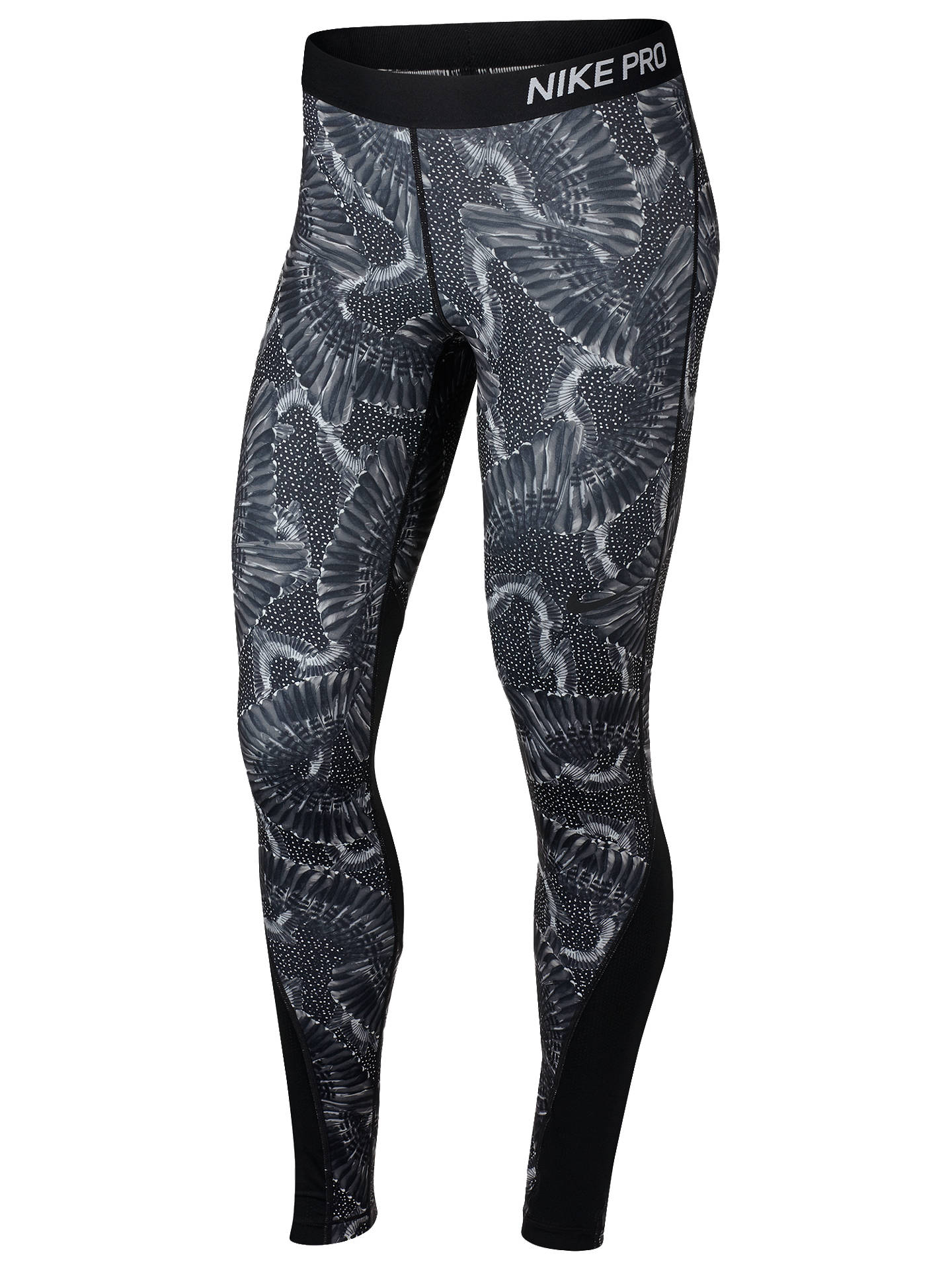 online store a07b2 0ae22 Buy Nike Pro Women s Printed Training Tights, Wolf Grey Black, XS Online at  ...