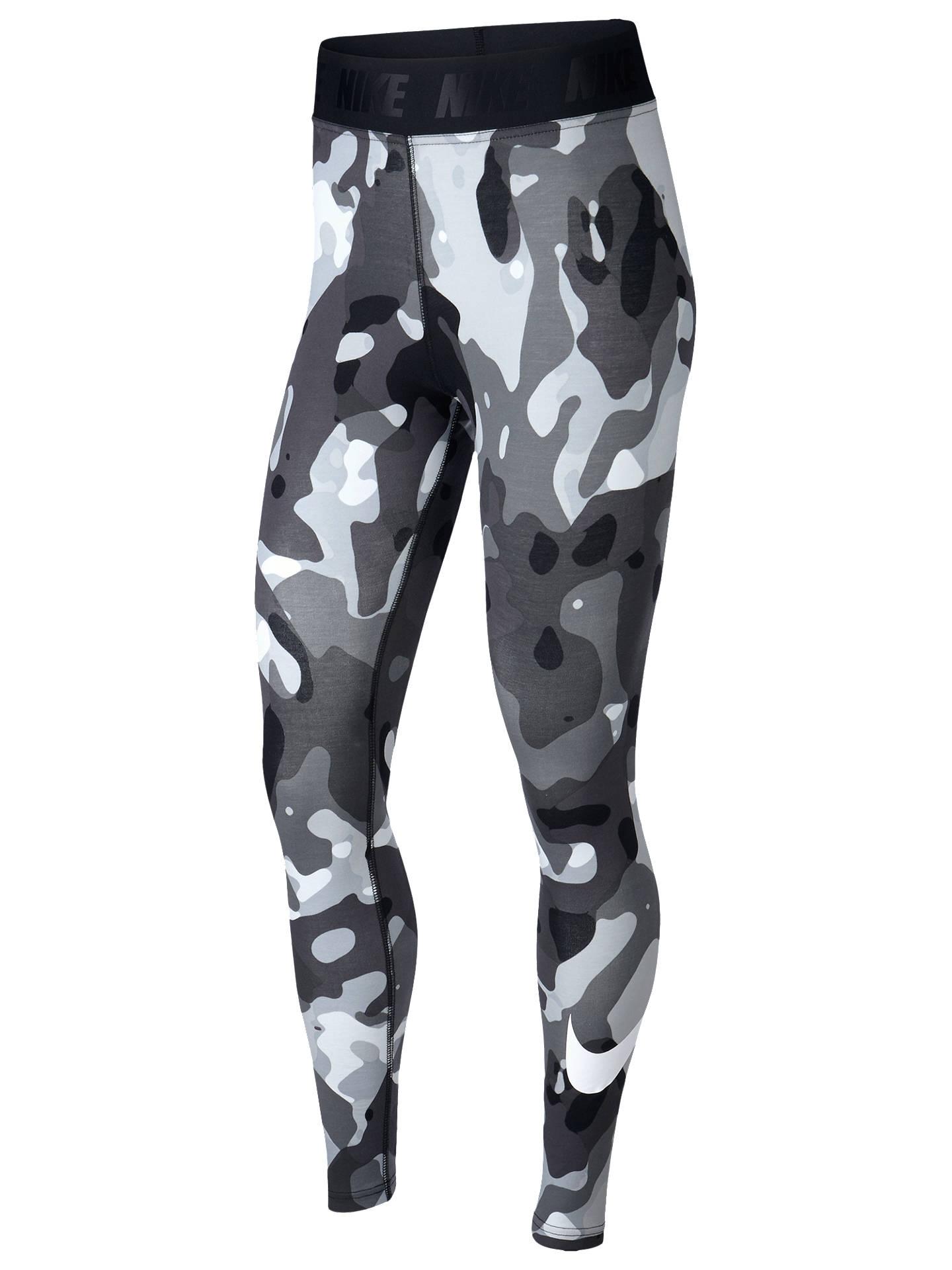 03af3e00331f33 Buy Nike Sportswear Swoosh Camo Training Tights, Black/White, XS Online at  johnlewis ...
