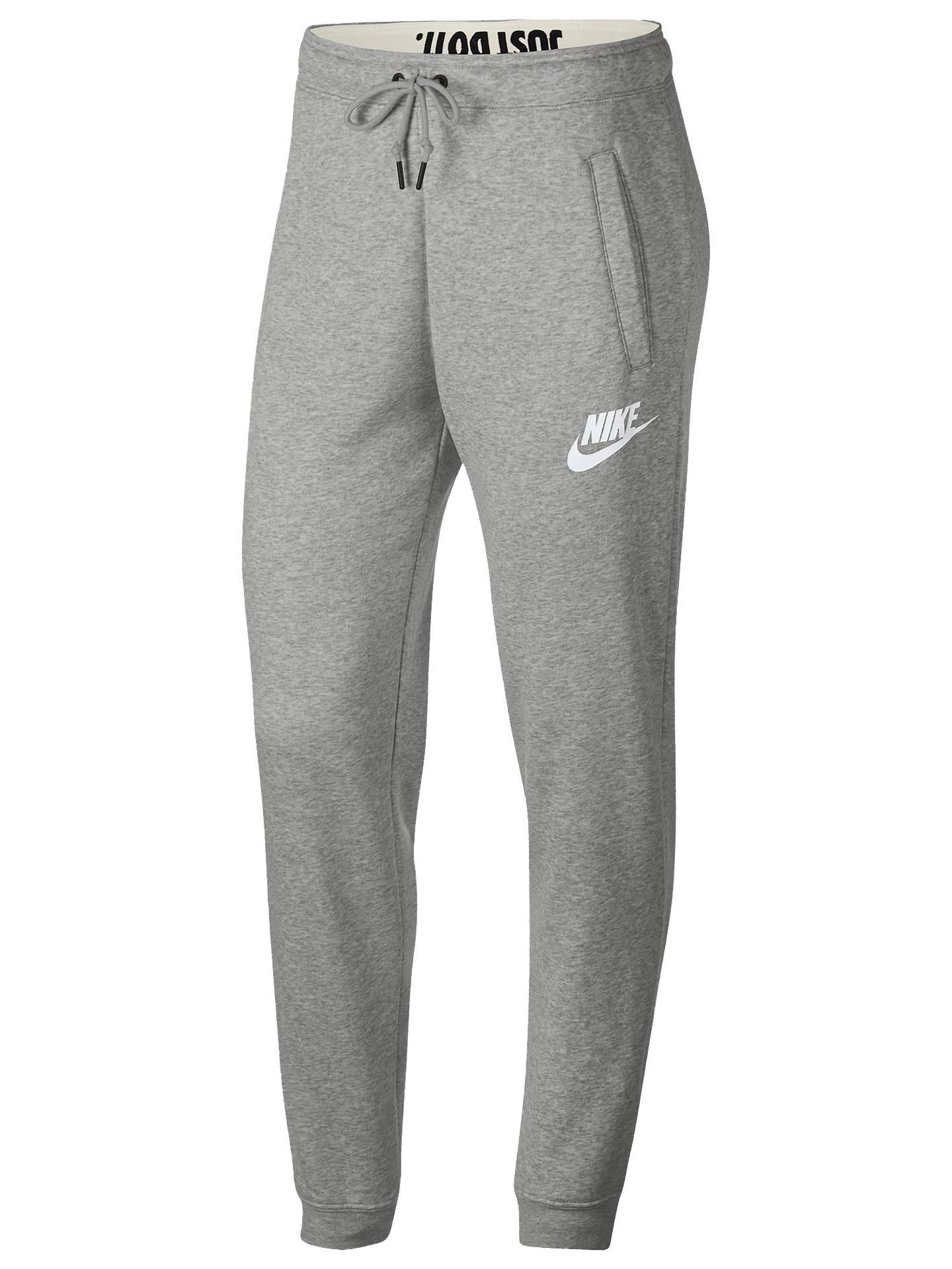 Nike Sportswear Rally Tracksuit Bottoms, Grey Heather/Pale Grey/White at  John Lewis & Partners