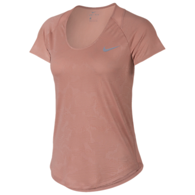 Nike 10k Jacquard Short Sleeve Running Top, Rust Pink