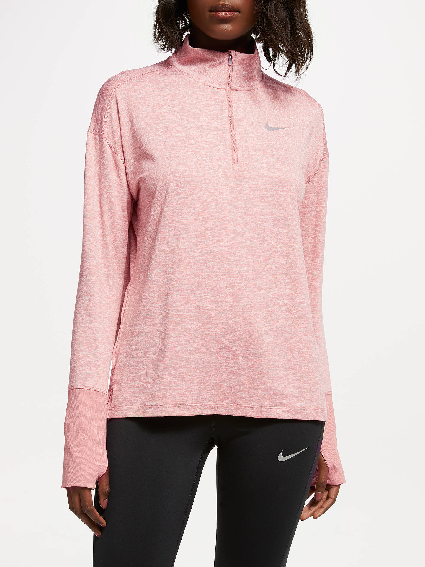 1e81ae46 Nike Dry Element 1/2-Zip Long Sleeve Running Top, Rust Pink/Heather ...
