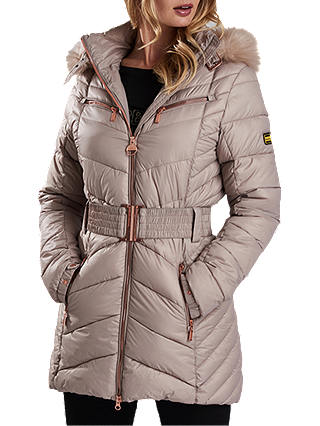 Buy Barbour International Grand Quilted Hooded Jacket, Latte, 8 Online at johnlewis.com