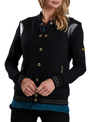 Buy Barbour International Grid Bomber Sweat Top, Black, 8 Online at johnlewis.com