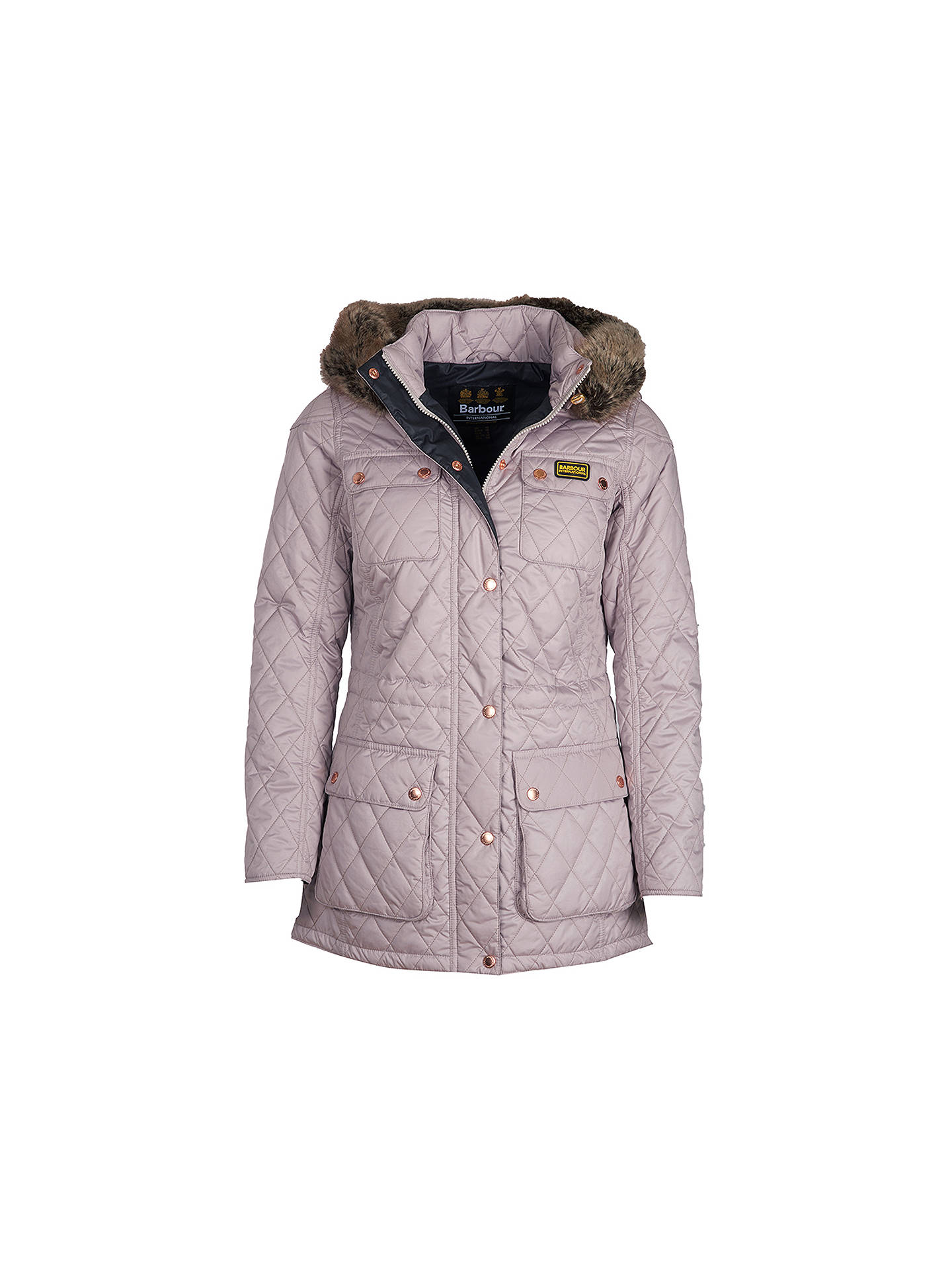 857a33c99 ... Buy Barbour International Enduro Quilted Hooded Jacket, Latte, 8 Online  at johnlewis.com ...