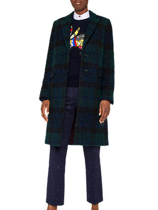 Buy PS Paul Smith Checked Boucle Coat, Navy, 16 Online at johnlewis.com