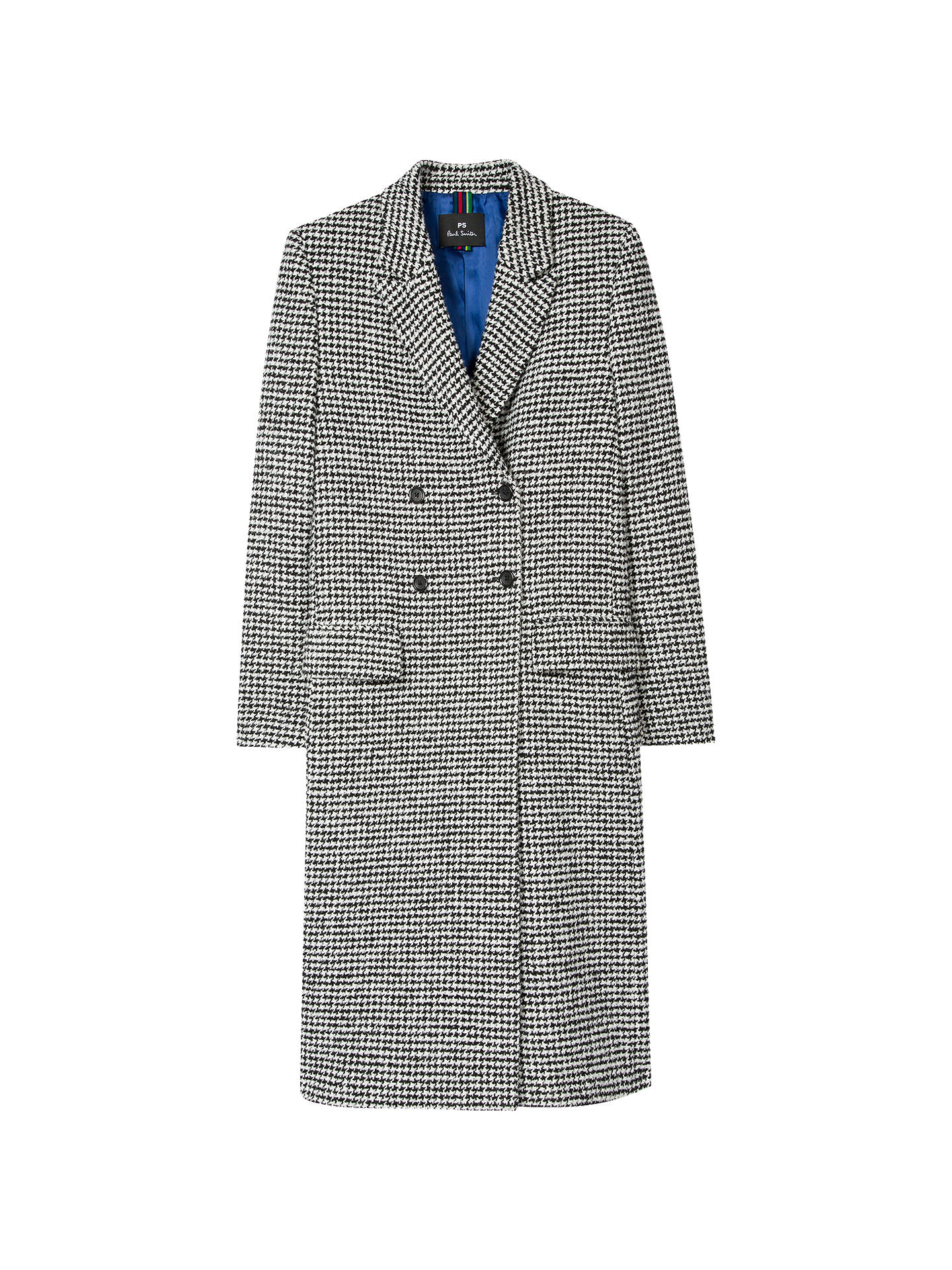 BuyPS Paul Smith Dogtooth Jacquard Coat, Black/White, 8 Online at johnlewis.com