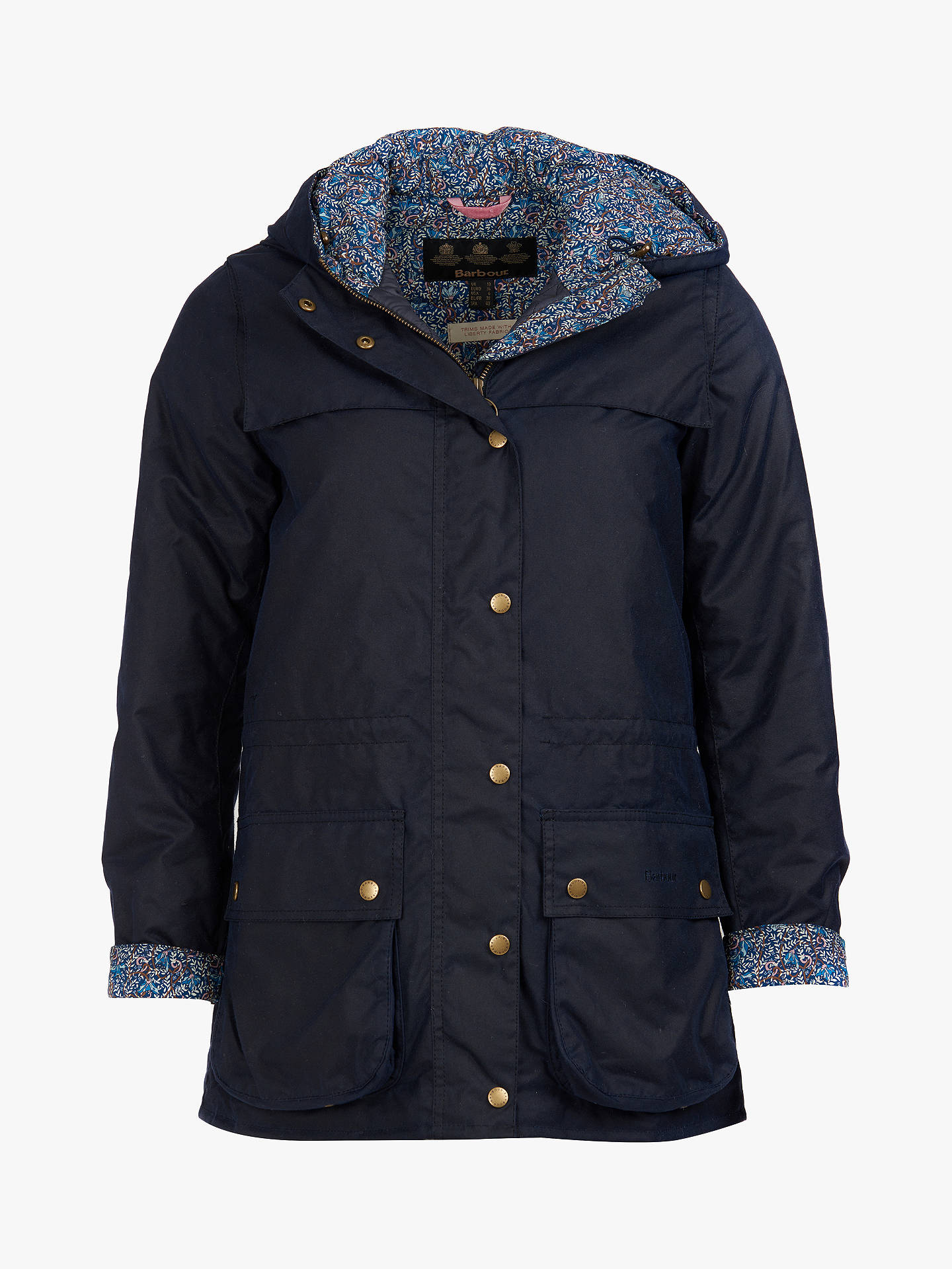 BuyBarbour Blaise Hooded Waxed Jacket, Navy, 8 Online at johnlewis.com