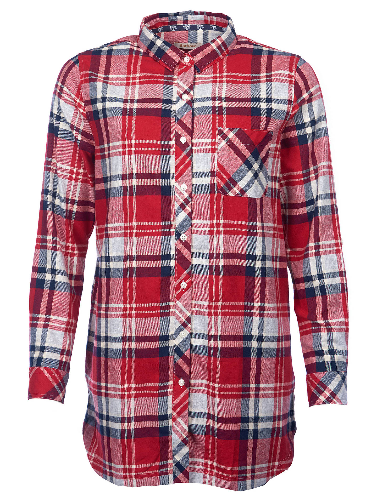 Buy Barbour Bressay Check Shirt, Grey/Chilli Red, 12 Online at johnlewis.com