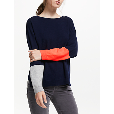 Cocoa Cashmere Long Back Jumper, Navy/Grey/Chilli
