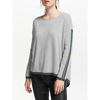 Cocoa Cashmere Rainbow Trim Button Back Jumper, Grey