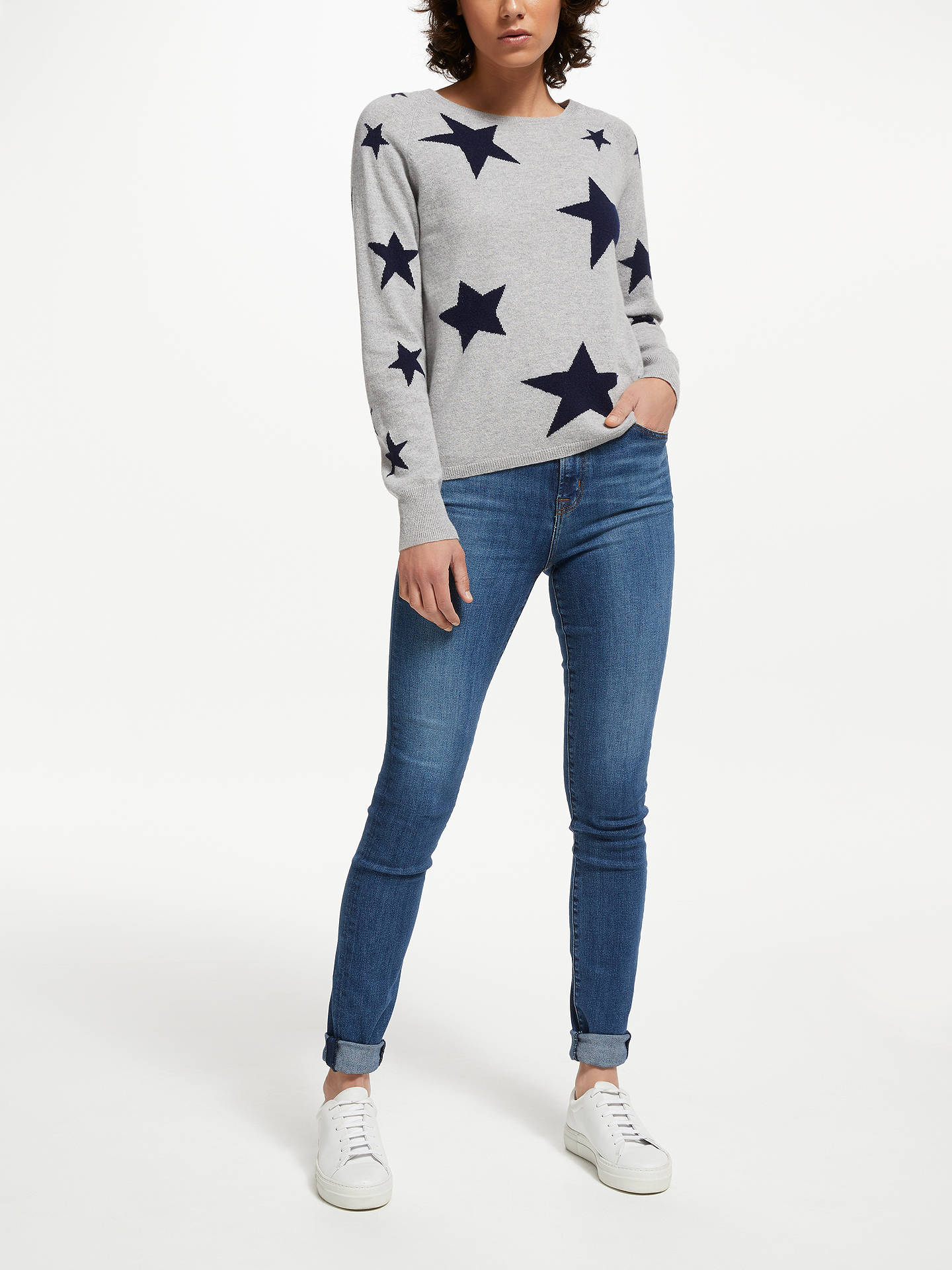 Buy Cocoa Cashmere Star Jumper, Grey, XS Online at johnlewis.com