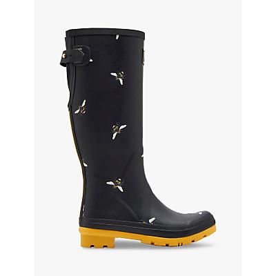 Joules Bee Print Adjustable Waterproof Wellington Boots, Black