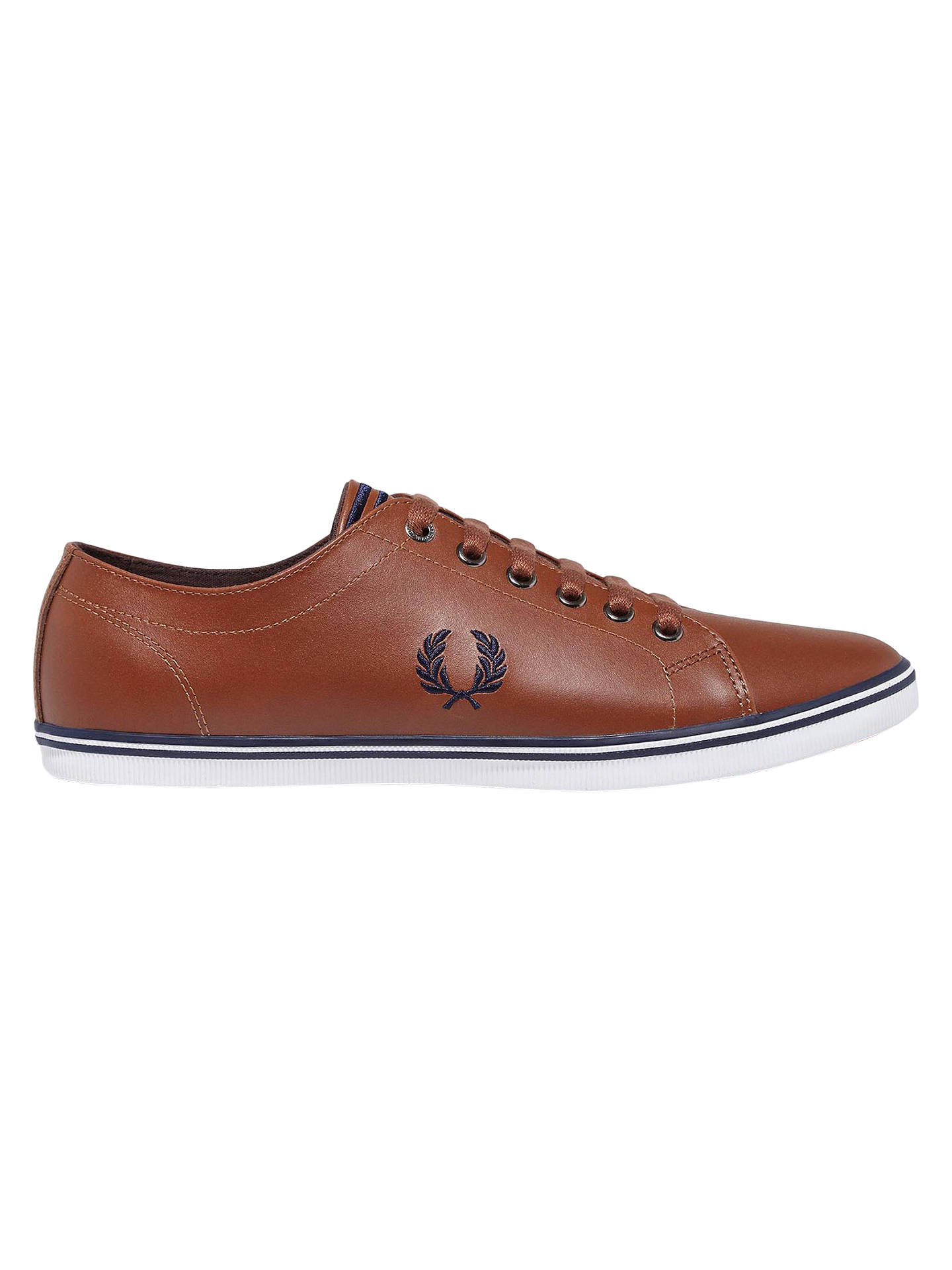 new release 50% off later Fred Perry Kingston Leather Trainers, Tan at John Lewis & Partners