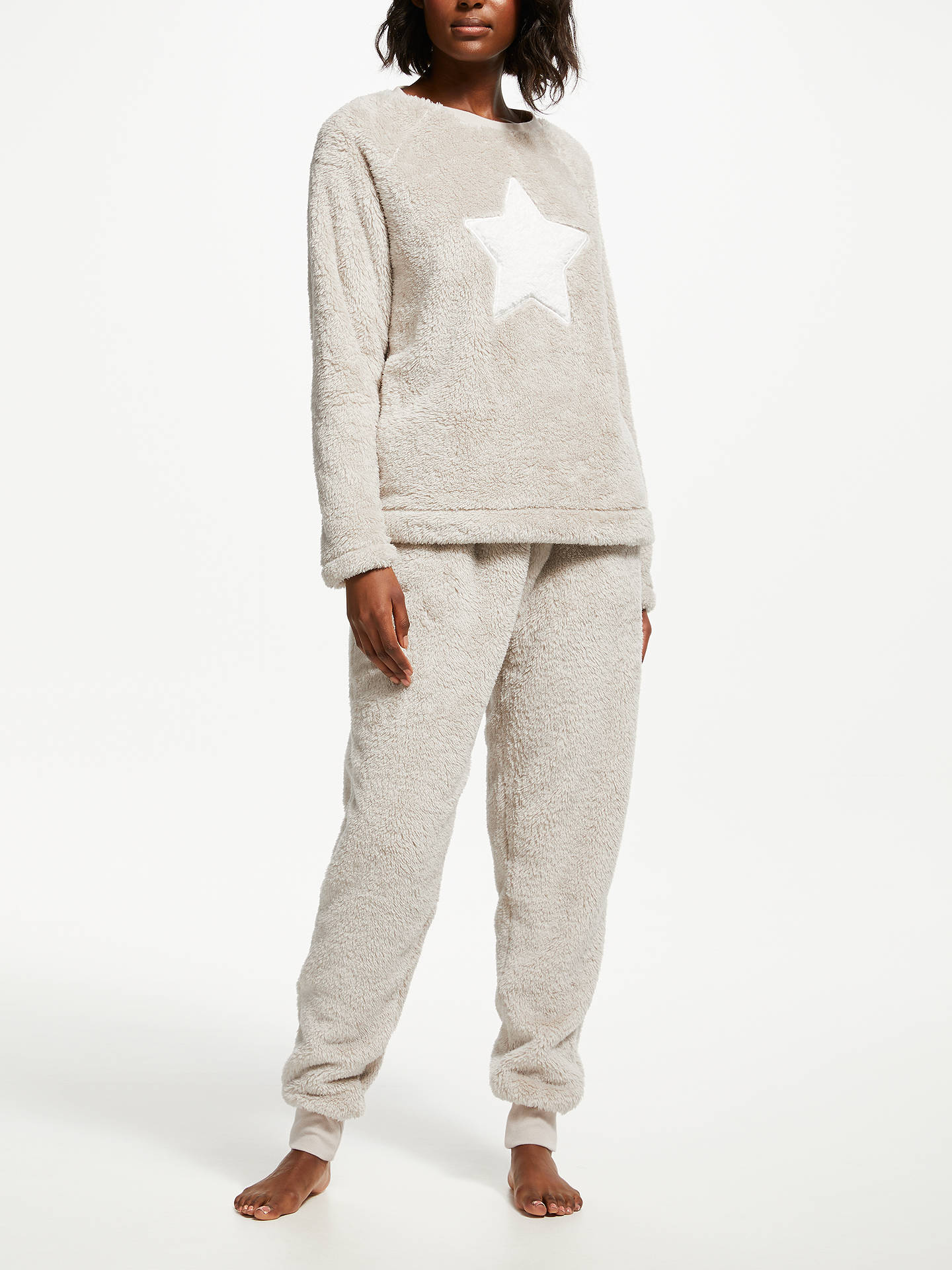 Buy John Lewis & Partners Furry Fleece Star Twosie Pyjama Set, Ivory, S Online at johnlewis.com