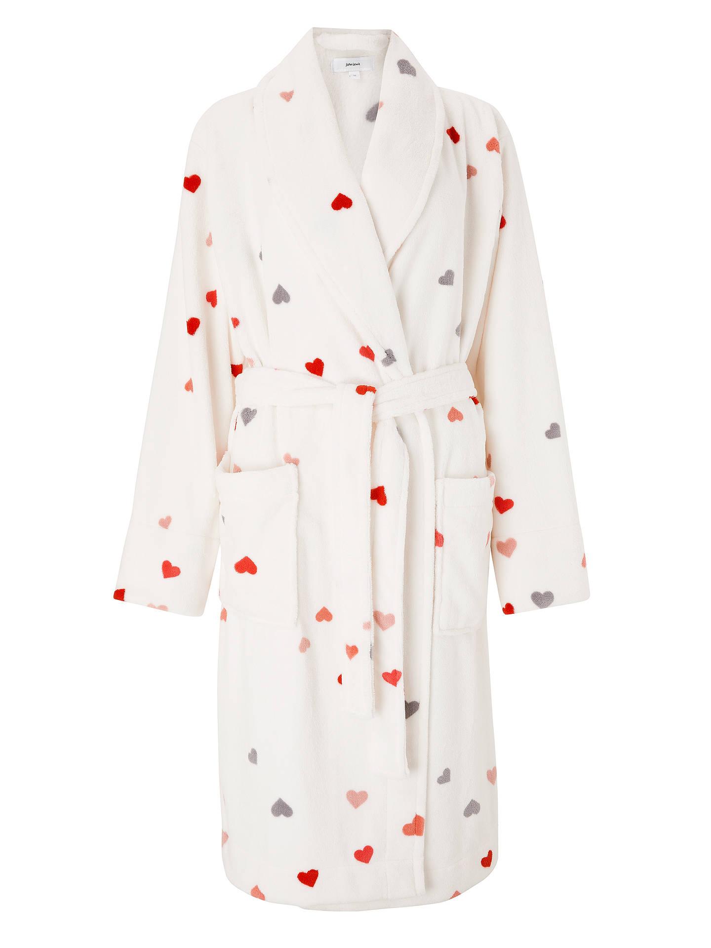 John Lewis Partners Juliet Heart Print Fleece Dressing Gown Pink