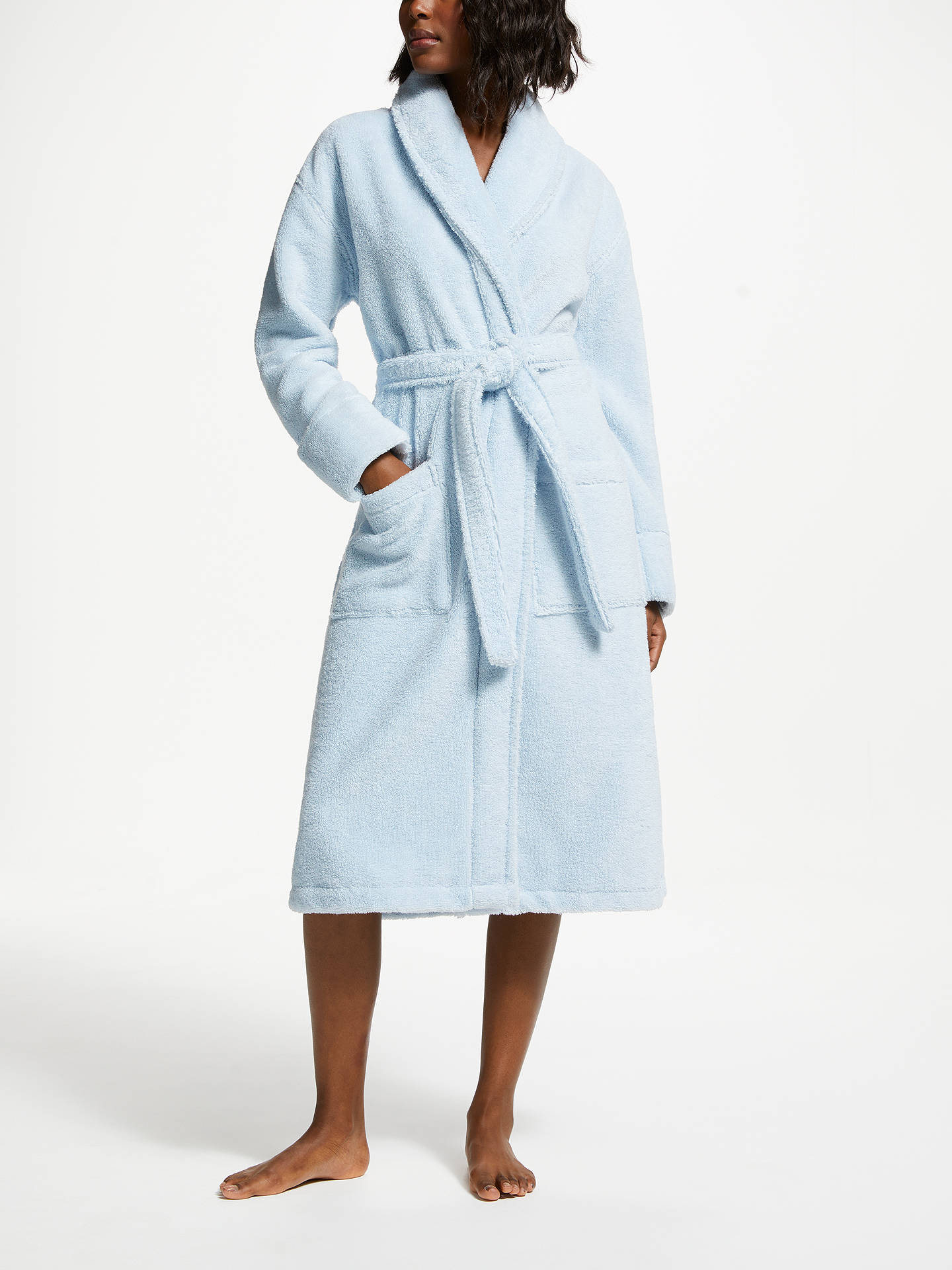 John Lewis Partners Luxury Towelling Robe Blue At John Lewis