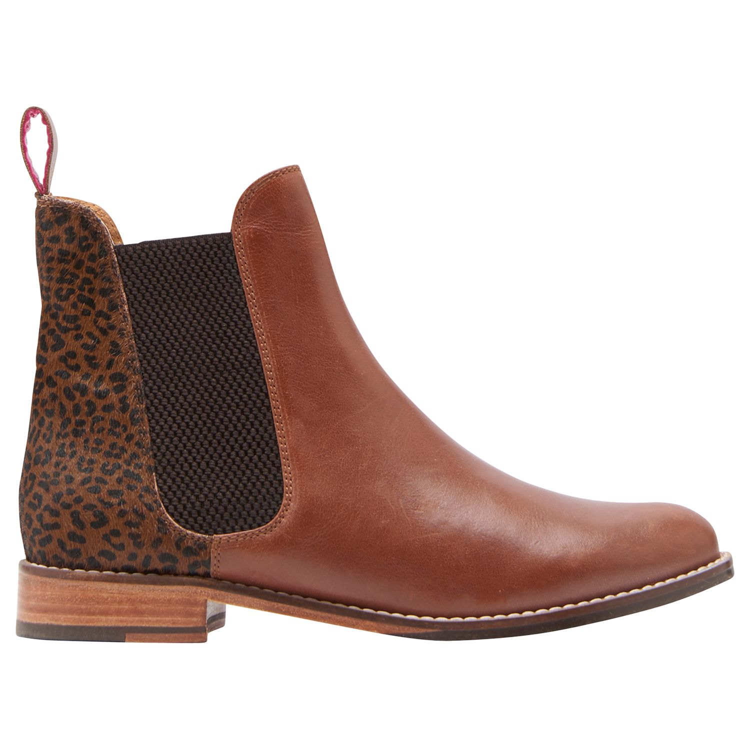 14735210b Joules Westbourne Leather Chelsea Boots, Brown/Leopard at John Lewis &  Partners