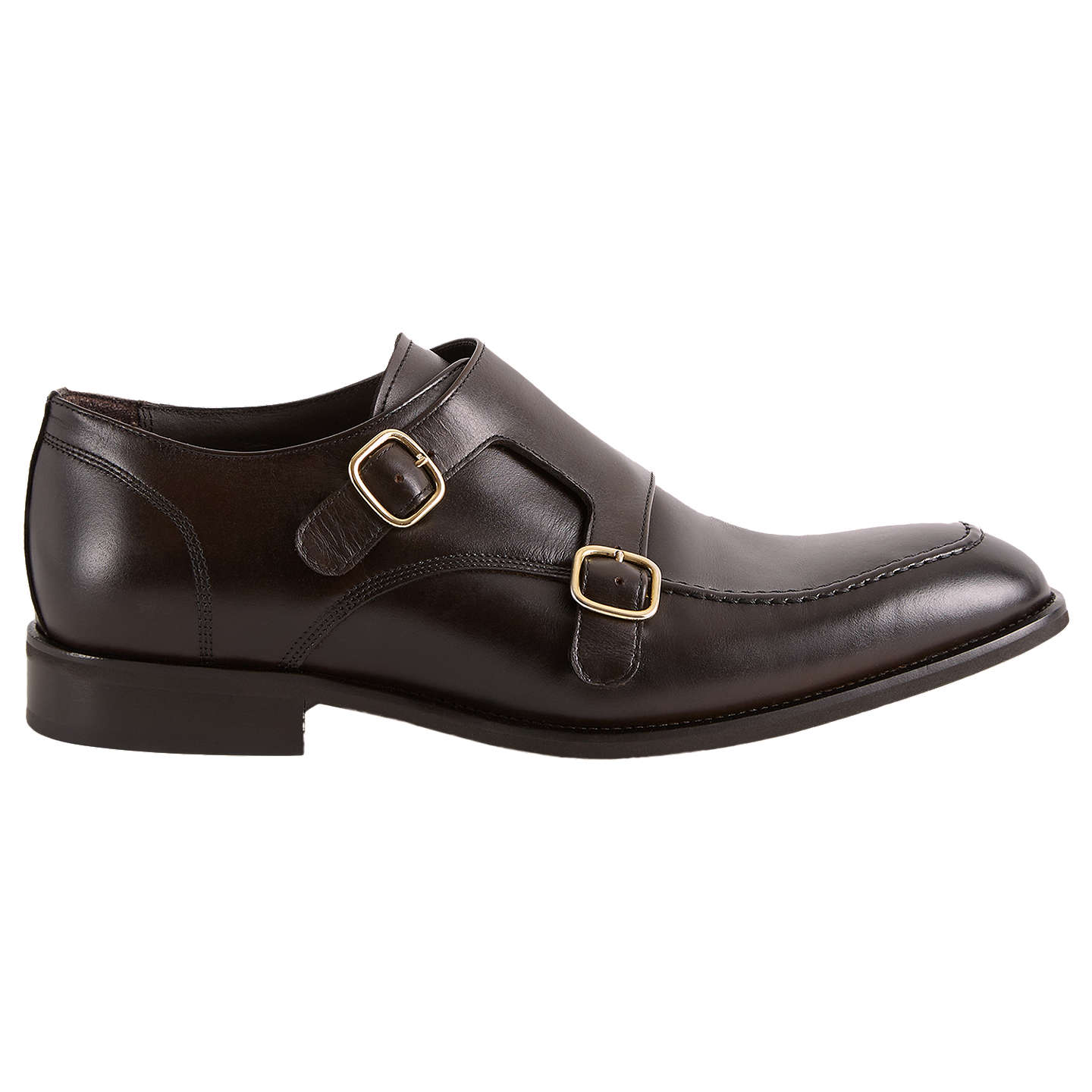 Rilmont - Double Monk Strap Shoes in Dark Brown, Mens, Size 10 Reiss