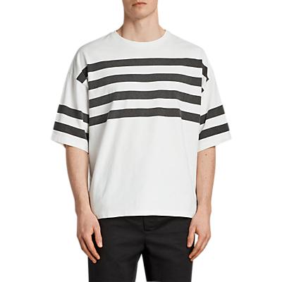 Product photo of Allsaints public stripe oversize t - shirt chalk white black