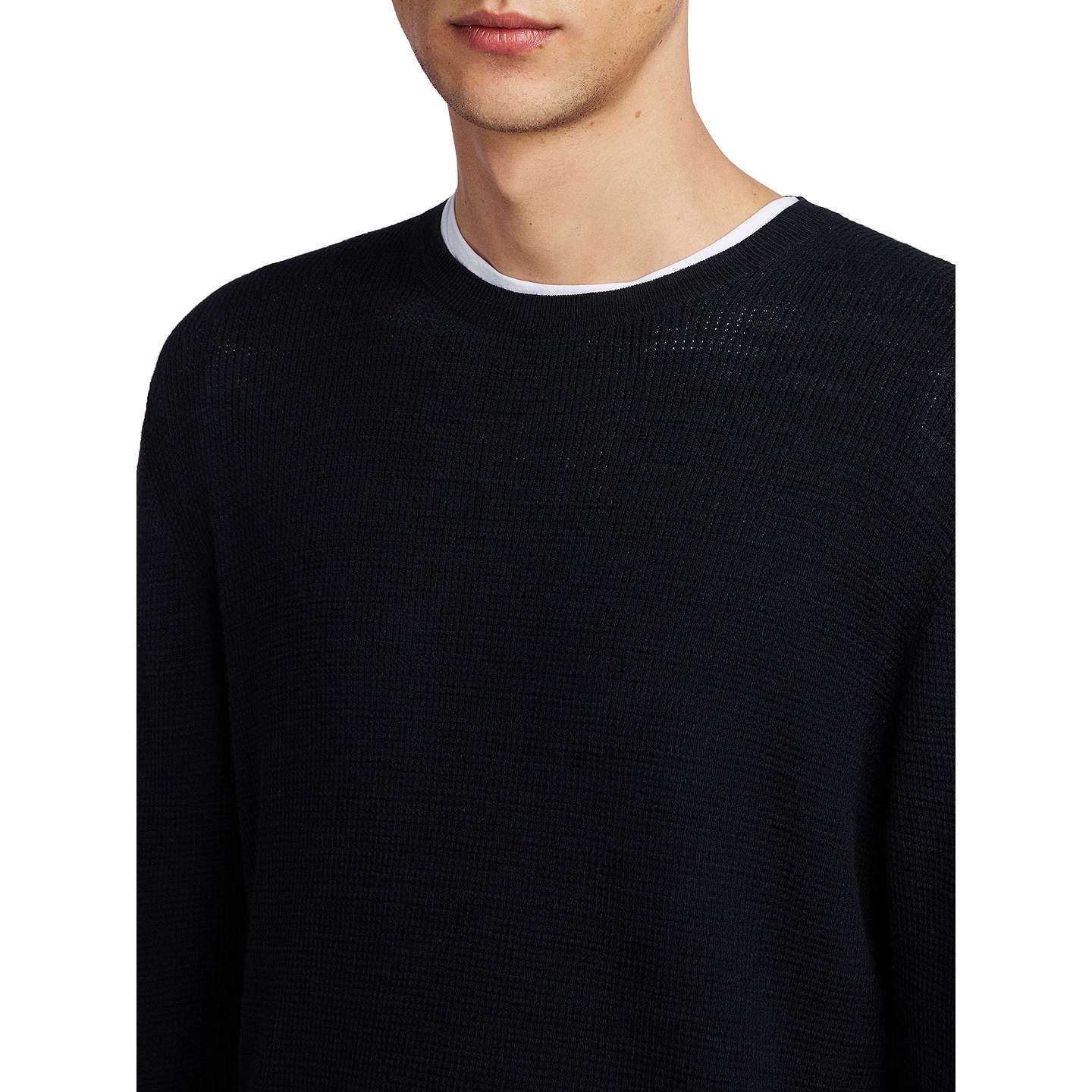 BuyAllSaints Tylinn Waffle Texture Jumper, Black, S Online at johnlewis.com