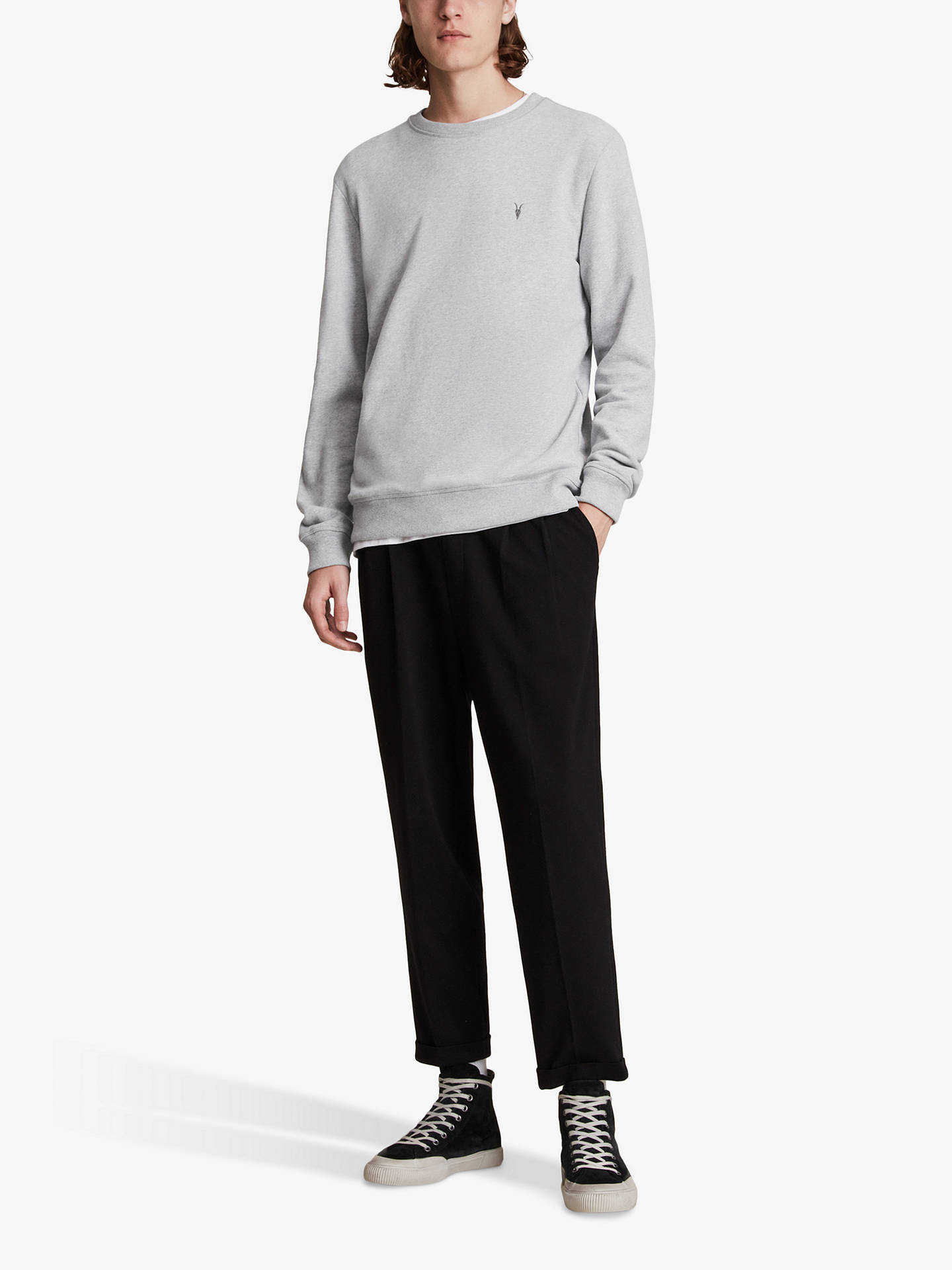 BuyAllSaints Raven Crew Neck Jumper, Grey Marl, XS Online at johnlewis.com