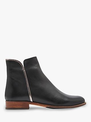 Joules Westminster Block Heel Ankle Boots, Black Leather