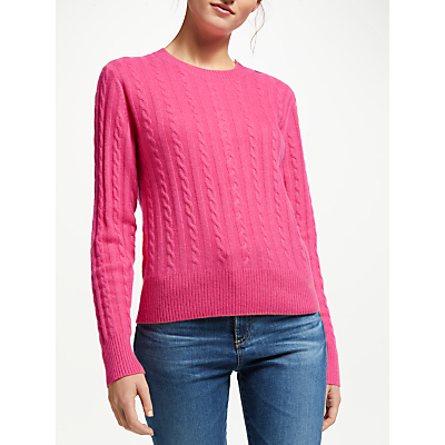 Collection WEEKEND by John Lewis Cashmere Cable Knit Crew Neck Jumper, Pink