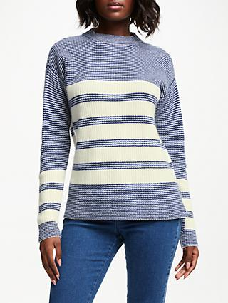 Collection WEEKEND by John Lewis Cashmere Tuck Stitch Stripe Sweater, Ivory/Blue