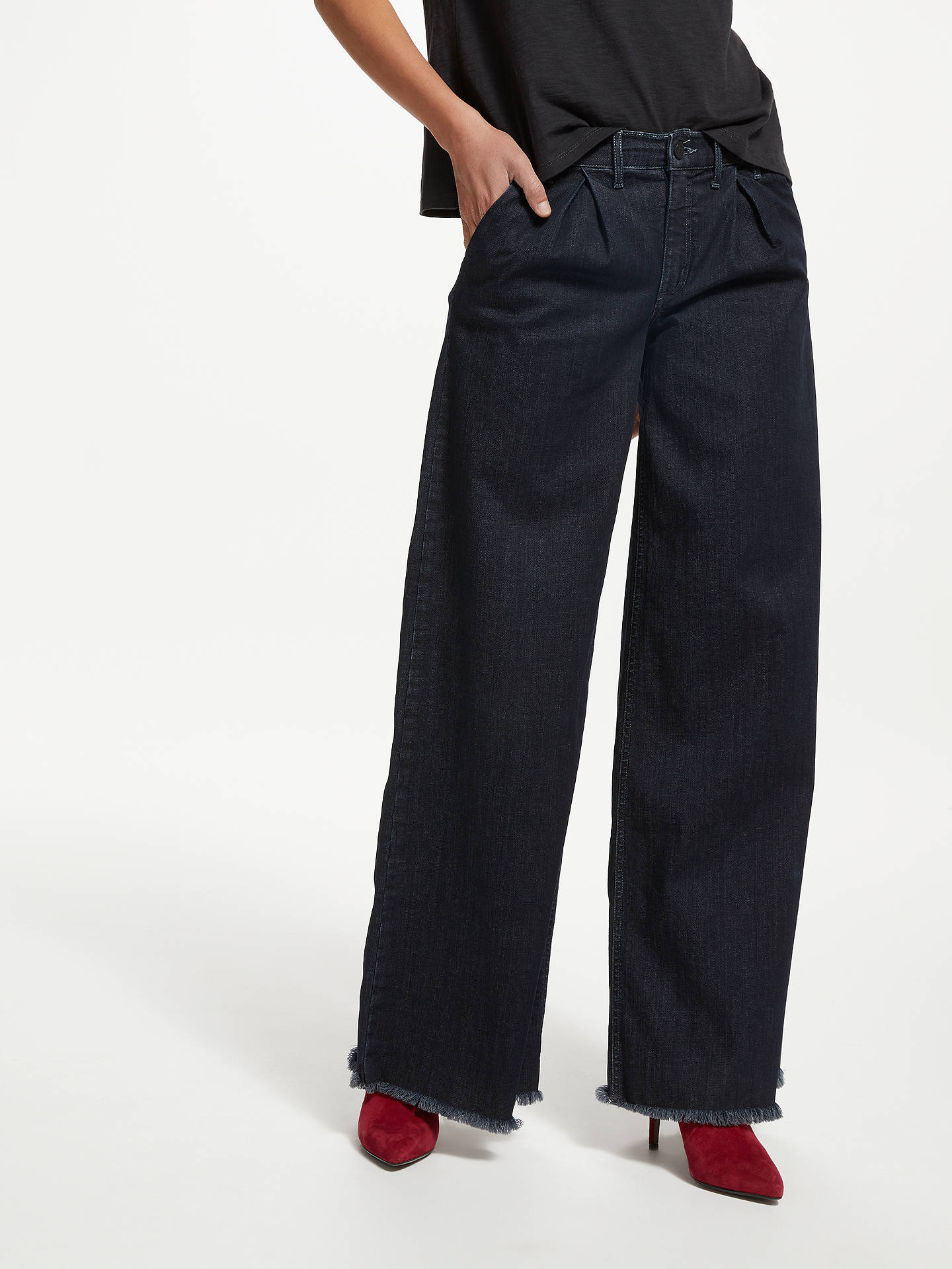 BuyAND/OR Pleat Front Wide Leg Jeans, Ink Blue, 26 Online at johnlewis.com