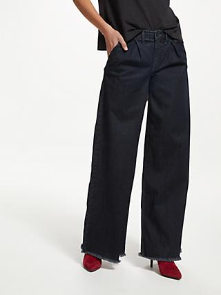 AND/OR Pleat Front Wide Leg Jeans, Ink Blue